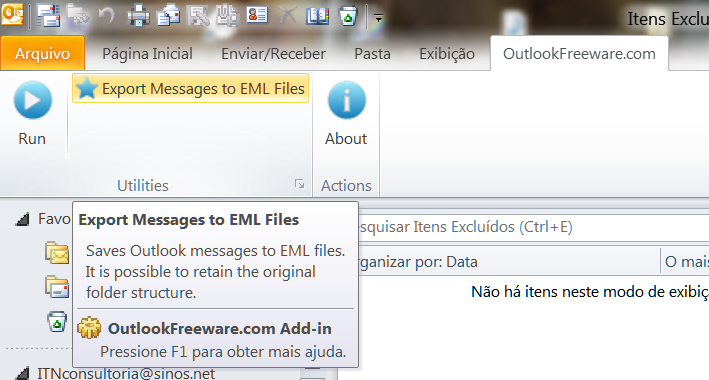 OutlookFreeware Export Messages to EML Files Microsoft Outlook 2010