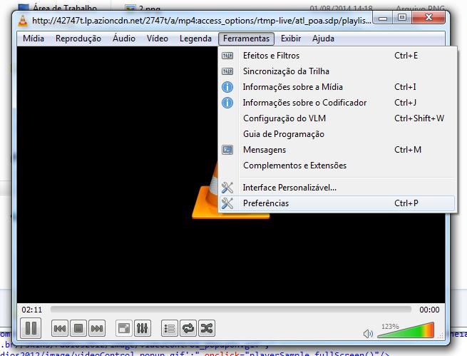 Ferramentas > Preferências VLC