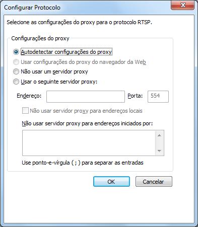 Rede > Configurações de Proxy (RTSP) do WMP