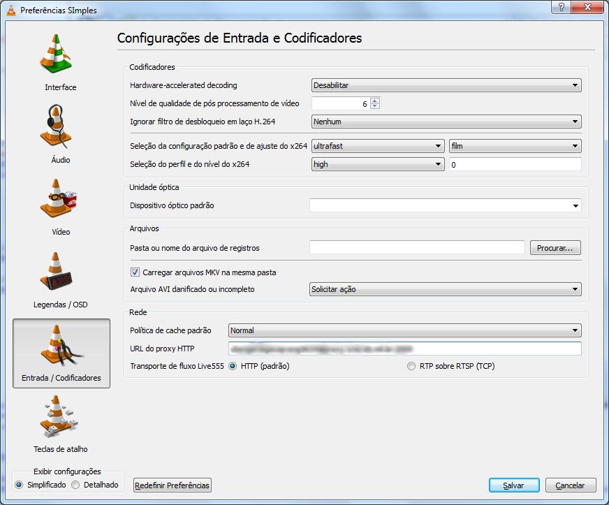 Configurações proxy do VLC
